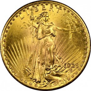 1925 $20 Saint Gaudens Double Eagle NGC MS65